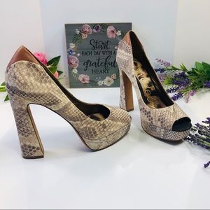 "Sam Edelman Tan 8,5 Snakeskin Block 5"" Heel Shoes"